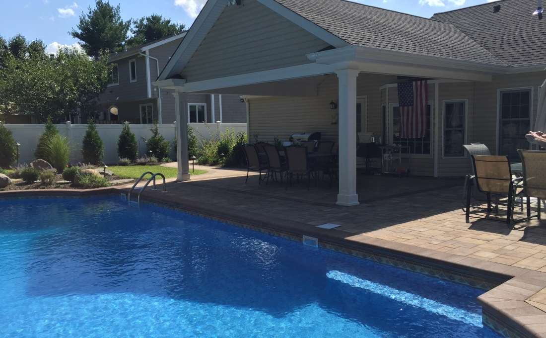Commack Long Island Covered Paving Stone Patio