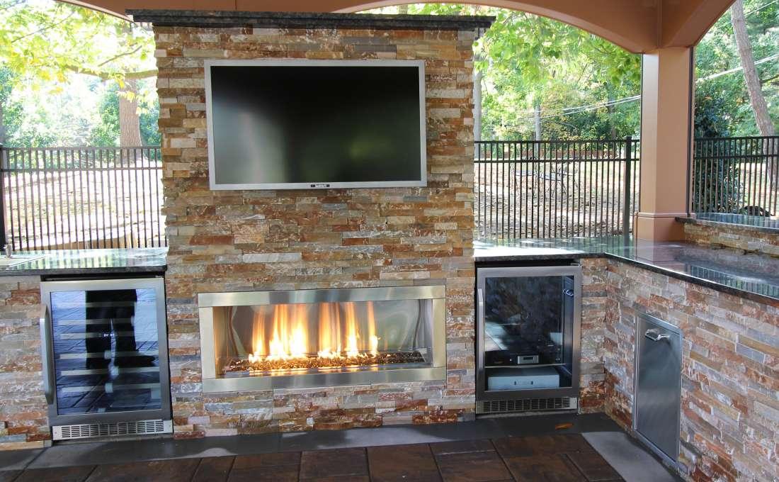 Custom Outdoor Fireplace Builders Autumn Leaf Landscape