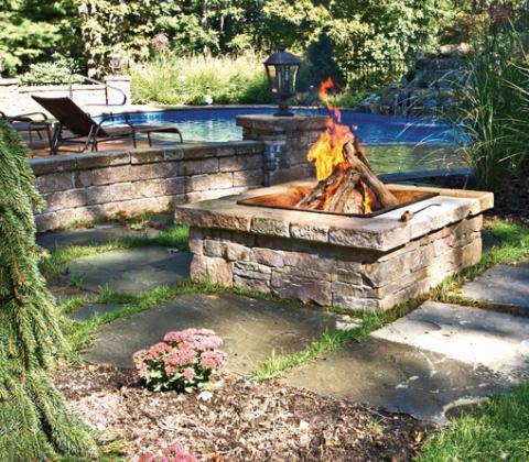 Custom fire pit design build autumn leaf landscape design for Materials needed to build a fire pit