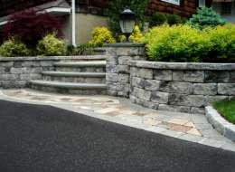 Paving stone front entry with deciduous and evergreen shrub plants
