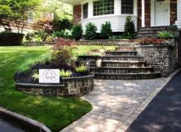 Paving stone front entry and walkway with bluestone steps