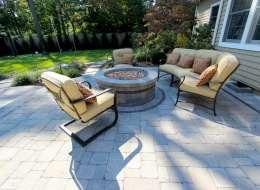 unilock brussels block fire pit patio design