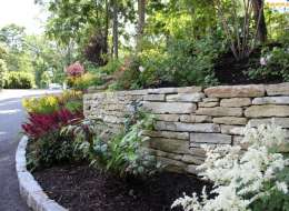 False spirea astilbe plant bed with stone retaining wall