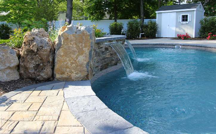 Balanced Materials Define This Pool Patio East Northport Long - Long island pool and patio
