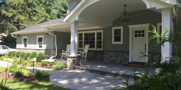 Natural bluestone front walkway with portico