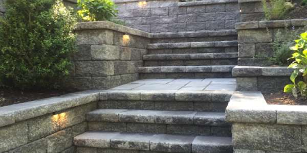 Paving Stone Stairs & Retaining Wall. Huntington